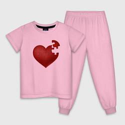 Пижама хлопковая детская Сердце цвета светло-розовый — фото 1