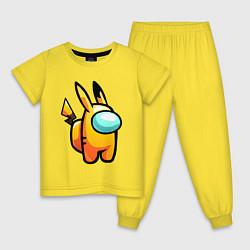 Пижама хлопковая детская AMONG US - PIKACHU цвета желтый — фото 1