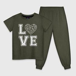 Пижама хлопковая детская Любовь и геометрическое сердце цвета меланж-хаки — фото 1