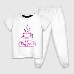 Пижама хлопковая детская Кофе цвета белый — фото 1