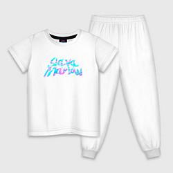 Пижама хлопковая детская Slawa Marlow цвета белый — фото 1