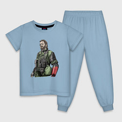 Пижама хлопковая детская Солид Снейк цвета мягкое небо — фото 1