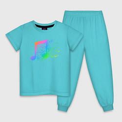 Пижама хлопковая детская I LOVE MUSIC DJ Z цвета бирюзовый — фото 1