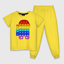 Пижама хлопковая детская Pop It Among Us цвета желтый — фото 1