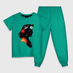 Пижама хлопковая детская Dana цвета зеленый — фото 1
