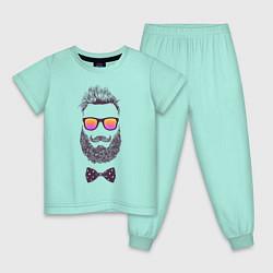 Пижама хлопковая детская Барбер цвета мятный — фото 1