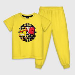 Пижама хлопковая детская Pac-Man цвета желтый — фото 1