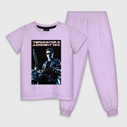 Пижама хлопковая детская Арнольд Шварценеггер цвета лаванда — фото 1