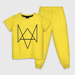 Пижама хлопковая детская Watch Dogs цвета желтый — фото 1