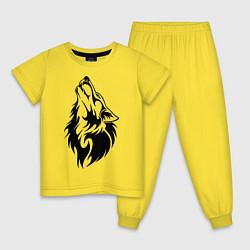 Пижама хлопковая детская Воющий волк цвета желтый — фото 1