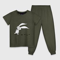 Пижама хлопковая детская Зайка крадется цвета меланж-хаки — фото 1