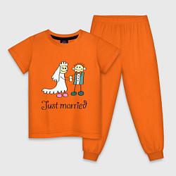 Пижама хлопковая детская Just married цвета оранжевый — фото 1