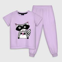 Пижама хлопковая детская Енот-девочка цвета лаванда — фото 1