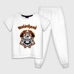 Пижама хлопковая детская Motorhead цвета белый — фото 1