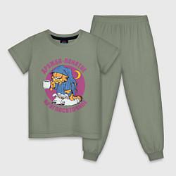 Пижама хлопковая детская Дружба- понятие круглосуточное цвета авокадо — фото 1