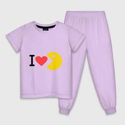 Пижама хлопковая детская I love Packman цвета лаванда — фото 1