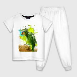 Пижама хлопковая детская Зеленый попугай цвета белый — фото 1