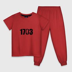 Пижама хлопковая детская 1703 цвета красный — фото 1