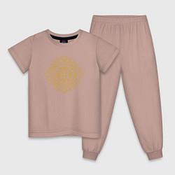 Пижама хлопковая детская Золотой цветок цвета пыльно-розовый — фото 1