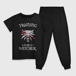 Пижама хлопковая детская Training to be a Witcher цвета черный — фото 1