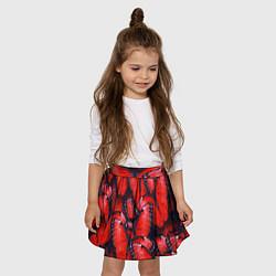 Юбка клеш для девочки с принтом Красные бабочки, цвет: 3D, артикул: 10100694505607 — фото 2