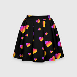 Юбка-солнце для девочки LIKEE - Сердечки цвета 3D — фото 1