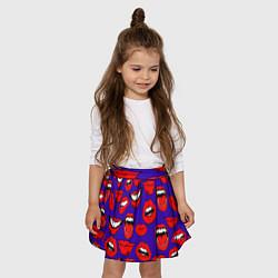 Юбка-солнце для девочки Губы цвета 3D — фото 2