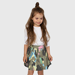 Юбка-солнце для девочки Камуфляж: микс цветов цвета 3D — фото 2