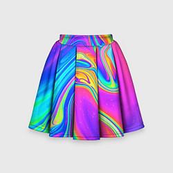 Юбка-солнце для девочки Цветные разводы цвета 3D-принт — фото 1