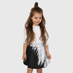 Юбка-солнце для девочки Черно-белый разрыв цвета 3D — фото 2