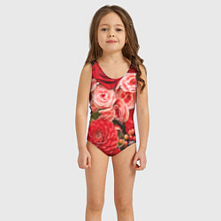 Купальник для девочки Ассорти из цветов цвета 3D — фото 2
