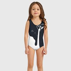 Купальник для девочки Черно-белый цвета 3D — фото 2