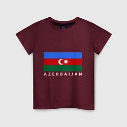 Футболка хлопковая детская Азербайджан цвета меланж-бордовый — фото 1