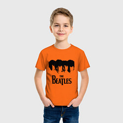 Футболка хлопковая детская The Beatles: Faces цвета оранжевый — фото 2