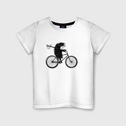 Футболка хлопковая детская Ежик на велосипеде цвета белый — фото 1