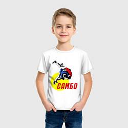 Футболка хлопковая детская Спортивное самбо цвета белый — фото 2