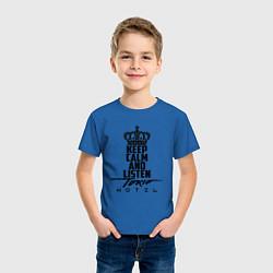 Футболка хлопковая детская Keep Calm & Listen Tokio Hotel цвета синий — фото 2