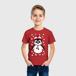 Футболка хлопковая детская Пингвин в снегу цвета красный — фото 2