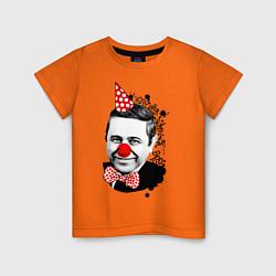 Футболка хлопковая детская Евгений Петросян клоун цвета оранжевый — фото 1