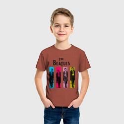 Футболка хлопковая детская Walking Beatles цвета кирпичный — фото 2