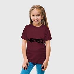 Футболка хлопковая детская Nero цвета меланж-бордовый — фото 2