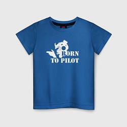 Футболка хлопковая детская Born to pilot цвета синий — фото 1