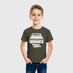 Футболка хлопковая детская Ваз 2105: Боевые Жигули цвета меланж-хаки — фото 2