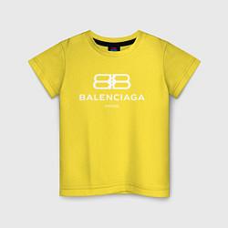 Футболка хлопковая детская Balenciaga Paris цвета желтый — фото 1