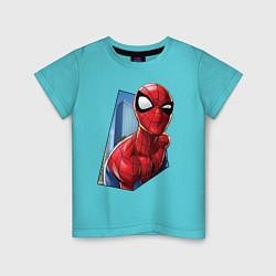 Футболка хлопковая детская Человек-паук и город цвета бирюзовый — фото 1