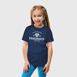 Футболка хлопковая детская Хабаровск Born in Russia цвета тёмно-синий — фото 2