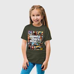 Футболка хлопковая детская GTA5 цвета меланж-хаки — фото 2