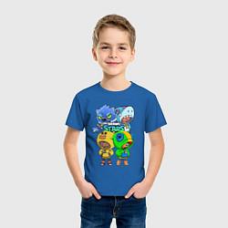 Футболка хлопковая детская Brawl Stars Leon Quattro цвета синий — фото 2
