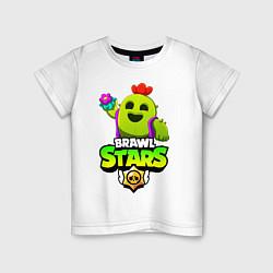 Футболка хлопковая детская BRAWL STARS SPIKE цвета белый — фото 1