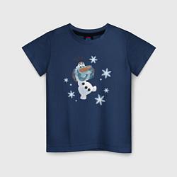 Футболка хлопковая детская Веселый Олаф цвета тёмно-синий — фото 1